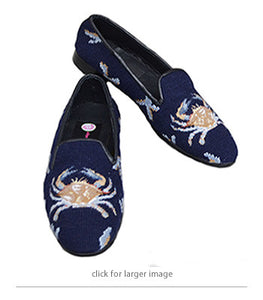 "<img src=""needlepoint loafer.jpg"" alt = Maryland blue crab handstitched in great detail in a  soft wheat, and blues on a navy background"">"