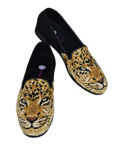 Misses Cheeta Handstitched Needlepoint Loafer