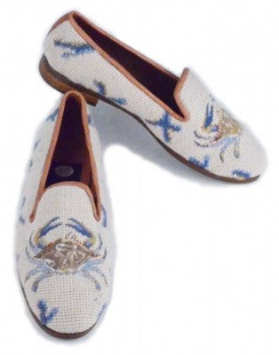 Misses Maryland Blue Crab needlepoint shoe is a classic on every shore