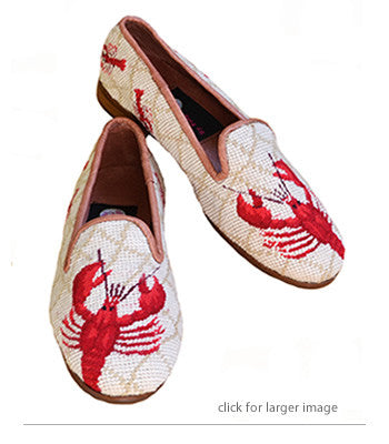 Misses handstitched Needlepoint loafer with lobster image is a clam bake favorite