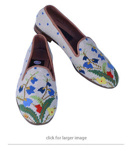 "<img src=""needlepoint loafers.jpeg"" alt=""misses handstiched needlepoint loafer with a colorful image of a spring bouquet in soft reds, green and blue"">"