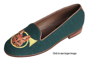 Misses Classic Needlepoint Shoes Fox and Horn | Designs by Lillie