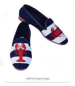 "<img src=""needlepoint loafers.jpeg"" alt=""red lobster and crab handstitched on a navy and white stripe background, so cool so fun"">"