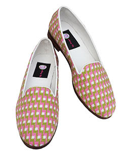 Misses Needlepoint Shoe Pink Geometric | Designs by Lillie
