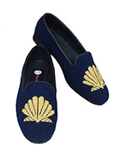 "<img src=""needlepoint loafer.jpeg"" alt=""stunning handstitched needlepoint loafer with handstitched gold mettalic scallop shell on a navy background to wear for all occassions"">"