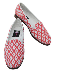 Misses Needlepoint Loafer Tangerine Geometrical