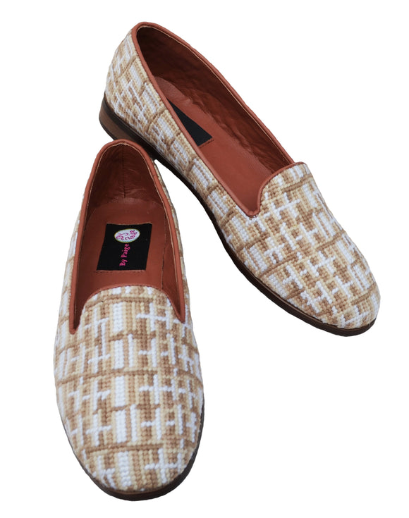Misses needleopit loafer with a lower vamp for comfort in brown and cream shades