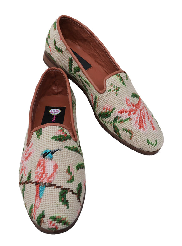 Misses Needlepoint loafer with graceful Hummingbird pattern. Add these subtle colors to any wardrobe.