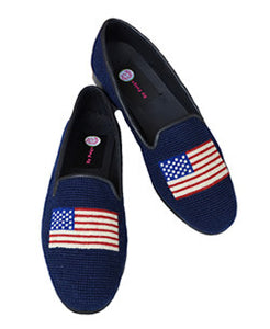 "<img  src=""needlepoint loafer.jprg alt=""misses  needpoint loafer hand stitched with the American flag in red white and blue on a navy background"">"