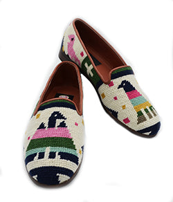 Misses Needlepoint  Hand Stitched Needlepoint Shoe- Aztec Animals