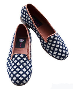 Popular, classic blue and white geometric needlepoint loafer waiting for the best occassion