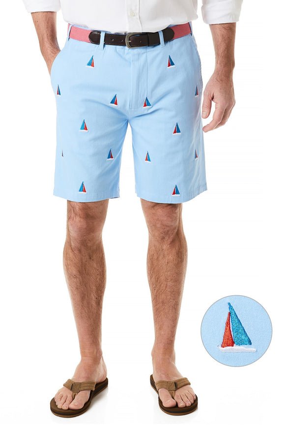 Men's Cisco Stretch Twill Embroidered shorts Sailor's Delight  on Liberty Blue