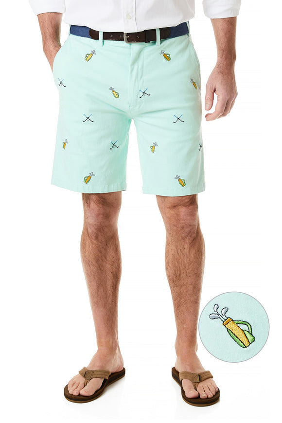 Men's Cisco Stretch Twill Embroidered Shorts Golf sticks on Mint