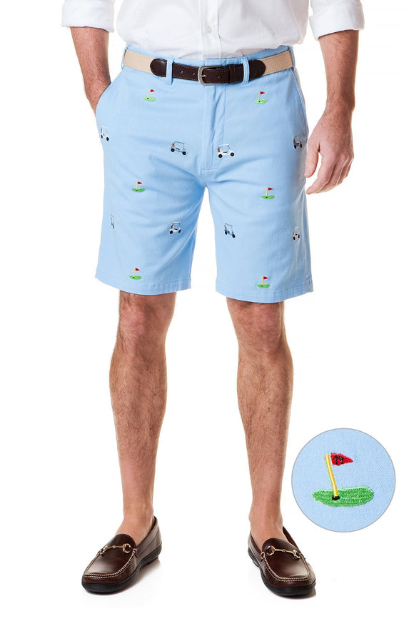 Men's Cisco Stretch Twill Embroidered  Shorts Tee Time on Liberty Blue