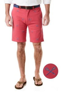 Men's Cisco Stretch Twill Embroidered Short Lacrosse Sticks on Hurricane Red
