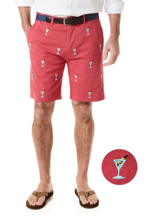 Men's Preppy Stretch Twill Cisco Short Martinis on Hurricane Red