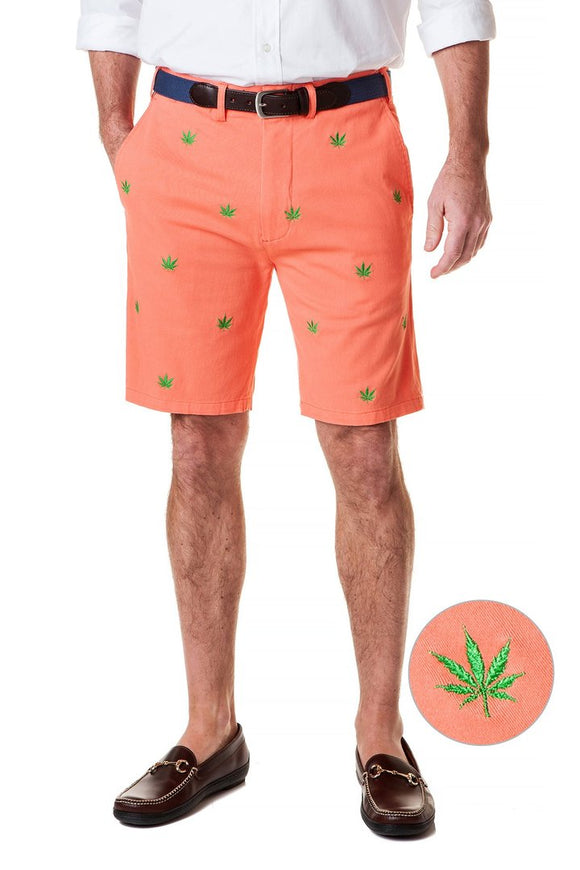 Men's Cisco Embroidered Shorts by Castaway Clothing Pot on Coral