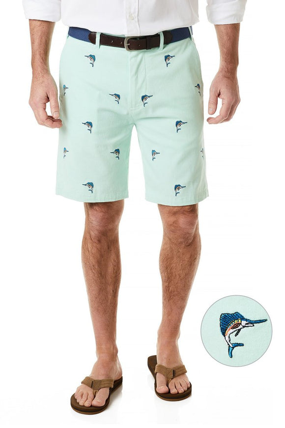 Men's Cisco Stretch Twill Embroidered Short- Sailfish on Mint