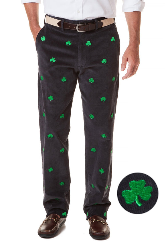 Me's Embroidered Beach Comber Corduroy Shamrock on navy