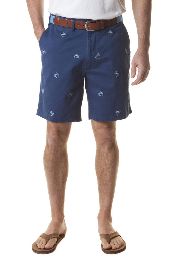 Special Sale Men's Classic Embroidered Shorts  Blue Crab