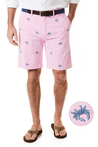Men's Preppy Cisco Stretch Twill Embroidered Shorts Blue Crab on Pink