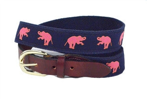 Men custom canvas pink elephant ribbon belt is a party player sold exclusivly on line.