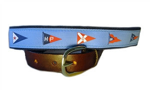 A lillie Design exclusive, Men's Yacht Club burgee ribbon belt seen at the finest clubs