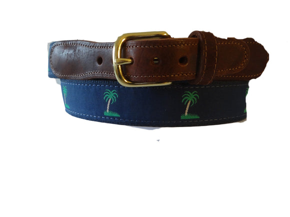 Mens Custom Canvas ribbon Palm Tree belt is worn on more golf coarses from Maine to Florida