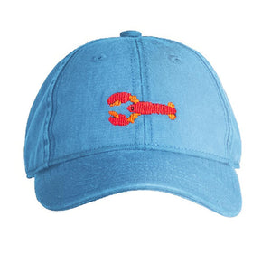 Kids Needlepoint Baseball Caps Lobster on Light Blue by Harding Lane