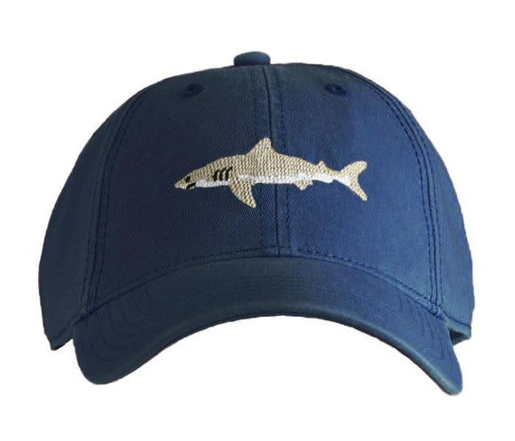 Harding Lane Needlepoint Baseball Cap. Great White Shark on Navy