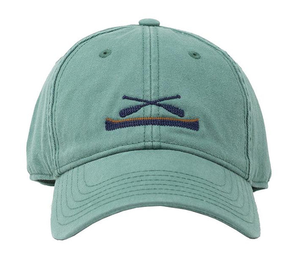 Needlepoint Baseball Cap Canoe and Paddle in the North Woods Sage Green