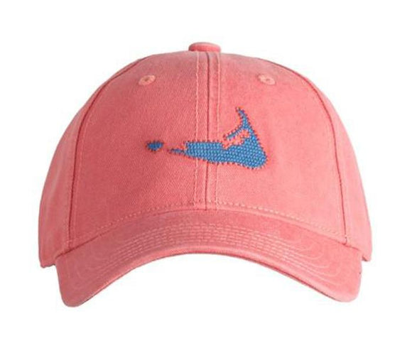 Kid's Needlepoint Baseball Cap Map of Nantucket On Weathered Red