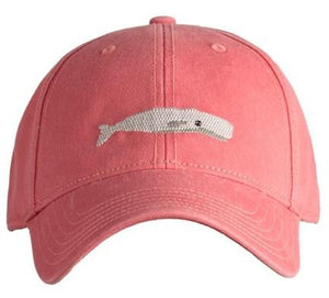 Harding Lane Needlepoint Baseball Hat with Whale Design on Weathered Red