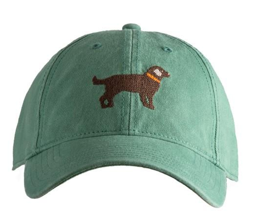 Harding Lane Needlepoint Baseball Cap - Chocolate Lab On Moss Green