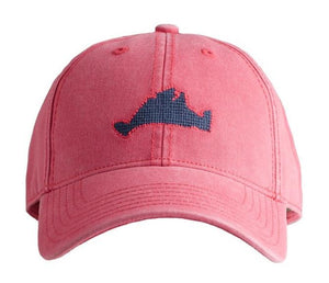 Harding Lane Needlepoint Baseball cap Martha'Vineyard on Nantucket red