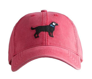 Kids Needlepoint Baseball Cap Black Lab on Nantucket Red