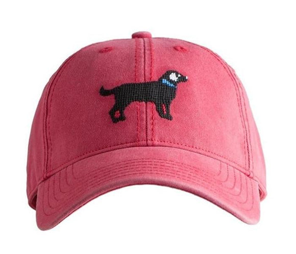 Kids Needlepoint Baseball Cap by Harding Lane - Black Lab on Nantucket Red