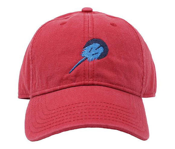 Harding Lane Needle Point Baseball Cap Horse Shoe Crab on Nantucket Red