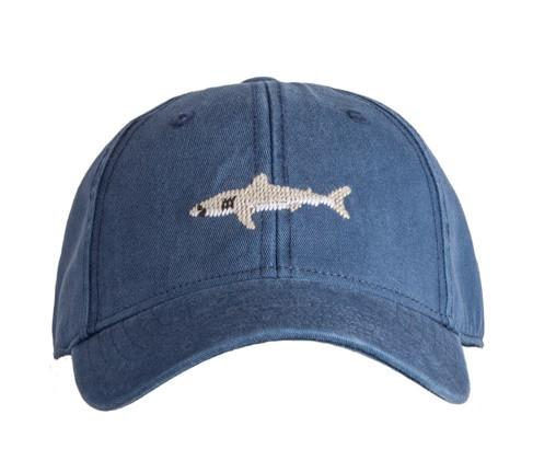 Kids  Needlepoint Baseball Cap Shark on navy