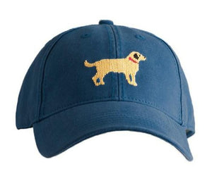Kid's Needlepoint Baseball Caps Golden on Navy