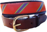 A lillie Design exclusive, Mens orange, lime and periwinkle stripe belt for the ageless prepster