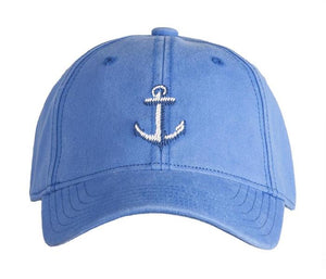 Kids Needlepoint Baseball Cap Anchor on Periwinkle by Harding Lane