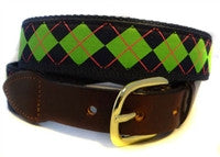 Special Sal;e Men's Exclusive Custom Canvas  Argyle Ribbon Belt -Designs by Lillie