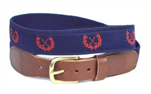 Men's navy and red goft crest custom canvas ribbon belt is a proven winner on the course. Made in the USA get yours right here.
