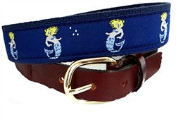 Another Lillie Design Exclusive, Popular mermaid ribbon belt finished on navy webbing. Buy yours right here!