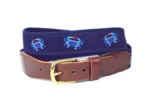 Detailed blue crab ribbon belt with shades of blue crabs and red pinchers on a navy ground