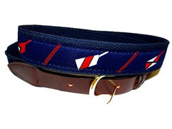 Cool crew ribbon belt with red and white oar blades on a navy background