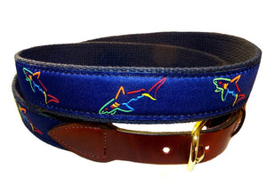 Mens favorite cutom canvas Shark Tank ribbon belt, a Lilliedesign exclusive. Get yours right here