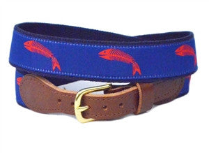 A Lillie Design exclusive, Men's fish bone belt on blue. Buy yours right here not available in stores