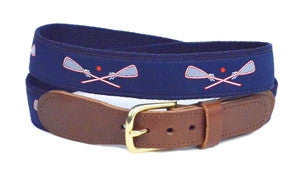 Mens most popular Red whit lacrosse ribbon belt on navy is a LillieDesign exclusive. Buy yours right now if you wear popular.